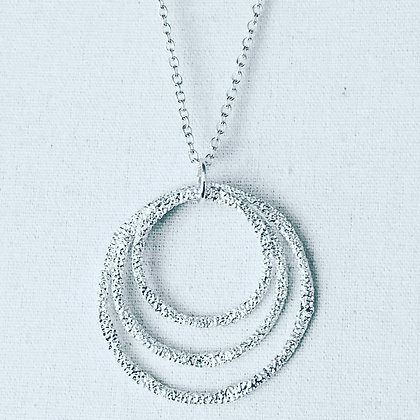 Etched Silver Rings Necklace