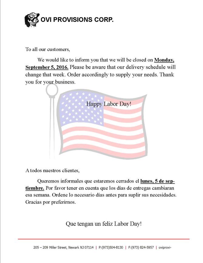 Labor Day Notice