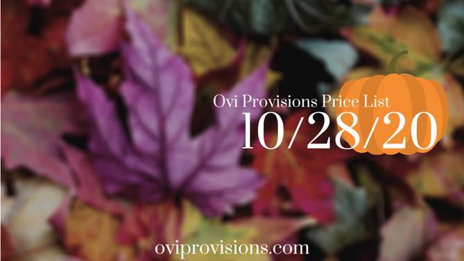 Price List 10/28/20