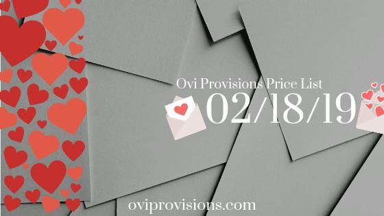 Price List 02/18/19