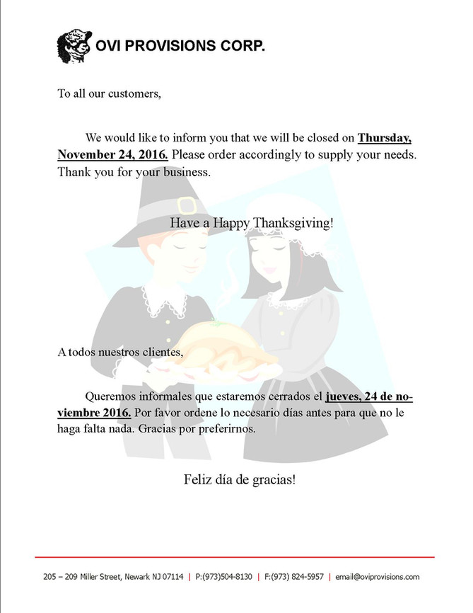 Thanksgiving Day Notice 2016