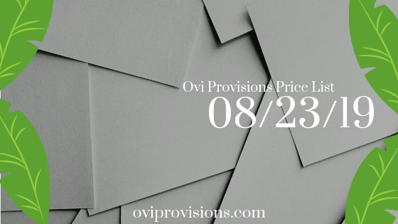 Price List 08/23/19