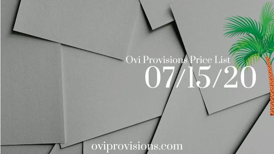 Price List 07/15/20