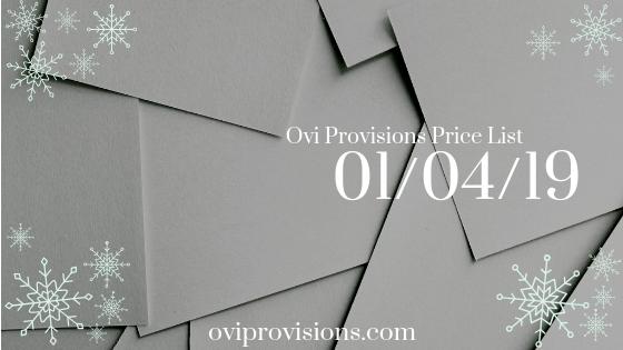 Price List 01/04/19