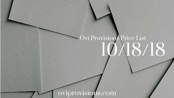 Price List 10/18/18