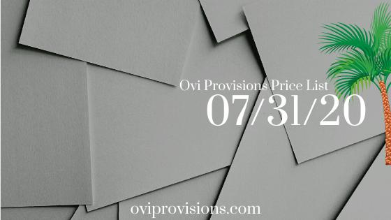 Price List 07/31/20