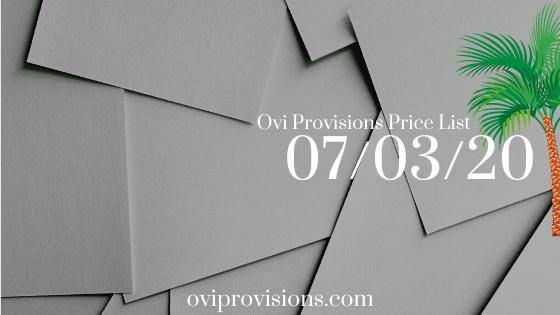 Price List 07/03/20