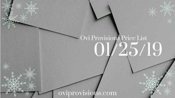 Price List 01/25/19