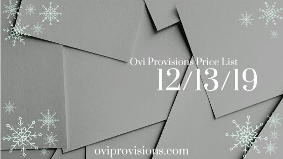 Price List 12/13/19