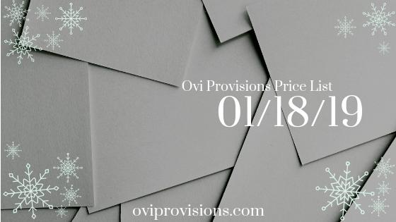 Price List 01/18/19