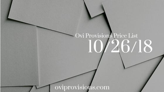 Price List 10/26/18