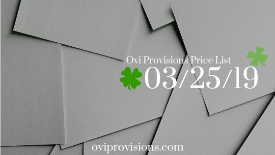 Price List 03/25/19