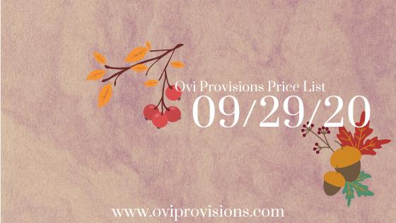 Price List 09/29/20