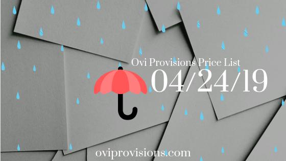 Price List 04/24/19