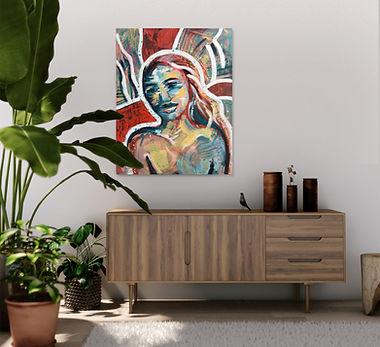 Portret schilderij in interieur