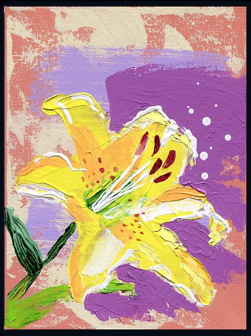 Schilderij - van - een - Gele - Aziatische - lelie - Lilium - Asiatic - Yellow