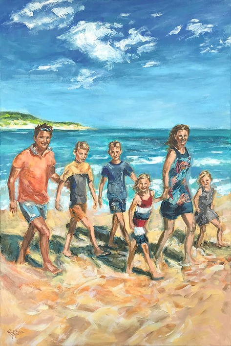Portretschilder Familieportret Gezinsportret familie aan het strand