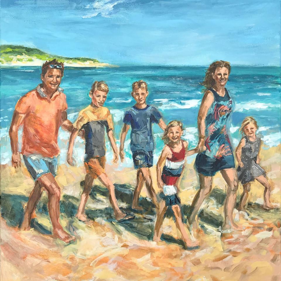 Persoonlijke kunst ART Eva Maria schilderij van gezin