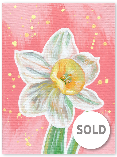 Schilderij Narcis | ArtaFlora | PRETTY PASTEL collectie SOLD