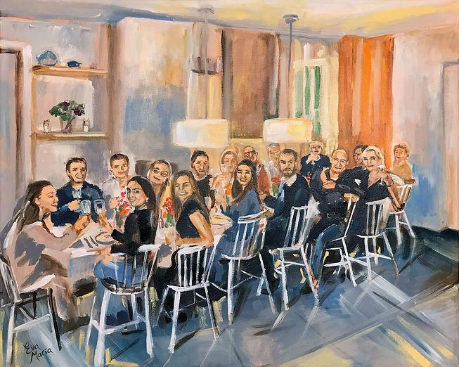 Live Paint Eva Maria schilderij van familie diner