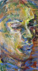 Portrait on wood 100314, unique painting SOLD Eva van den Hamsvoort