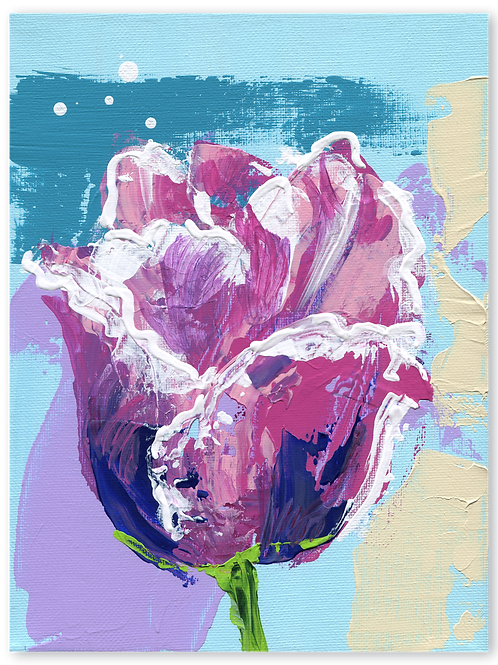Bloemetje - sturen - Tulipa - Parrot - papegaai - tulp - bloemschilderij