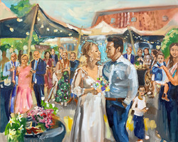 Live Paint Eva Maria schilderij bruiloft Wichelen, België