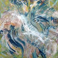 Balancing, unique painting SOLD Eva van den Hamsvoort