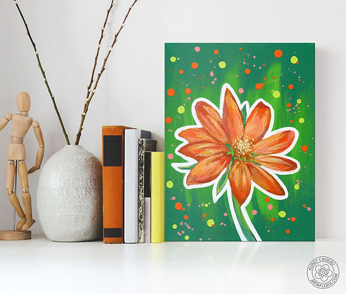 Schilderij van een goudsbloem. Geef een bloemetje cadeau met ArtaFlora