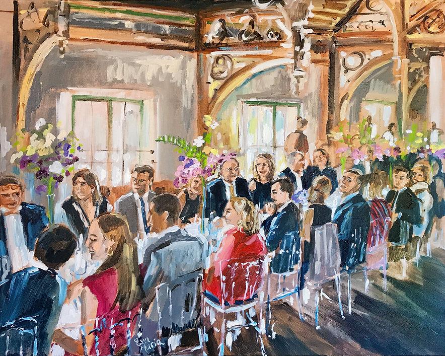 Live Paint ART Eva Maria schilderij van diner, feest kunstwerk
