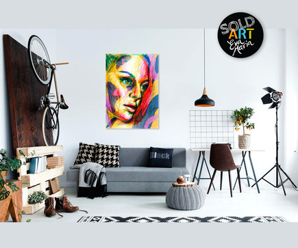 Multicolor dreaming face, SOLD Eva van den Hamsvoort