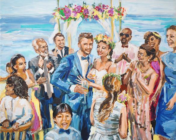 Familie portret   Schilderij bruiloft