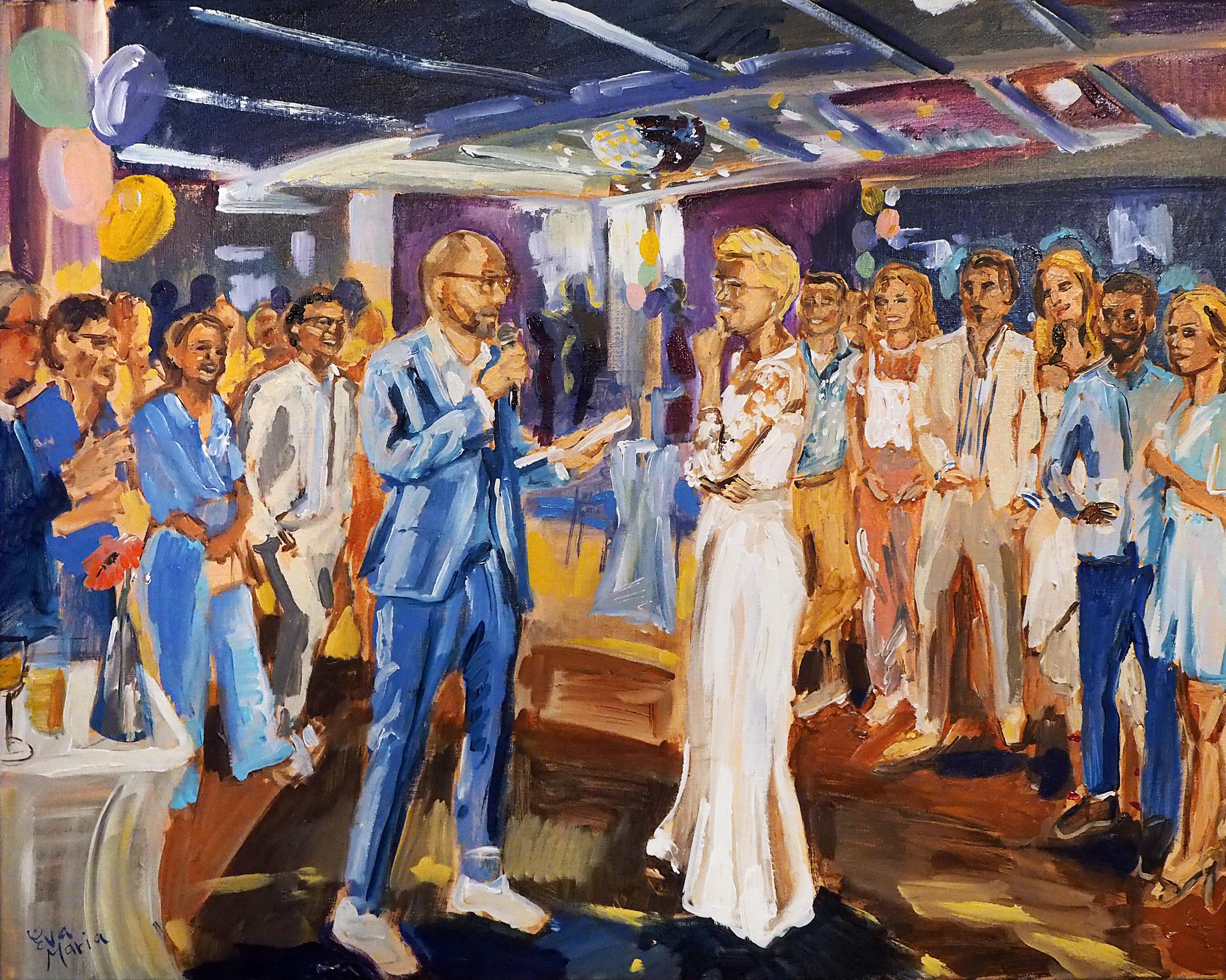 Live Paint Eva Maria kunstwerk trouwfeest Noordwijk