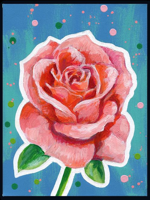 Schilderij Roos zalmroze | ArtaFlora | FLOWER POWER collectie