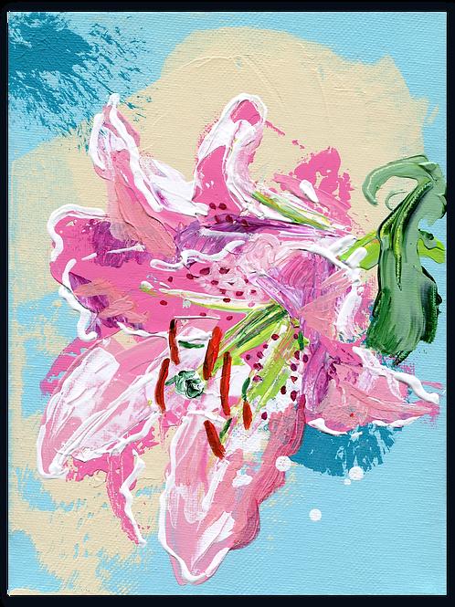 Lelie - Lilium - Le - rêve - schilderij - van - een - roze - lelie