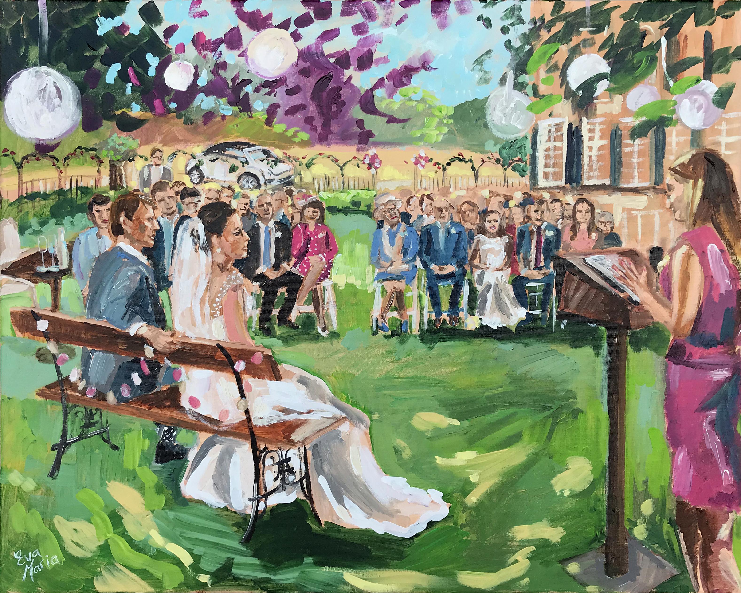 Live Paint Eva Maria huwelijksceremonie De Steeg
