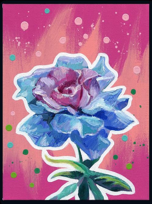 Schilderij Roos blauwroze | ArtaFlora | FLOWER POWER collectie
