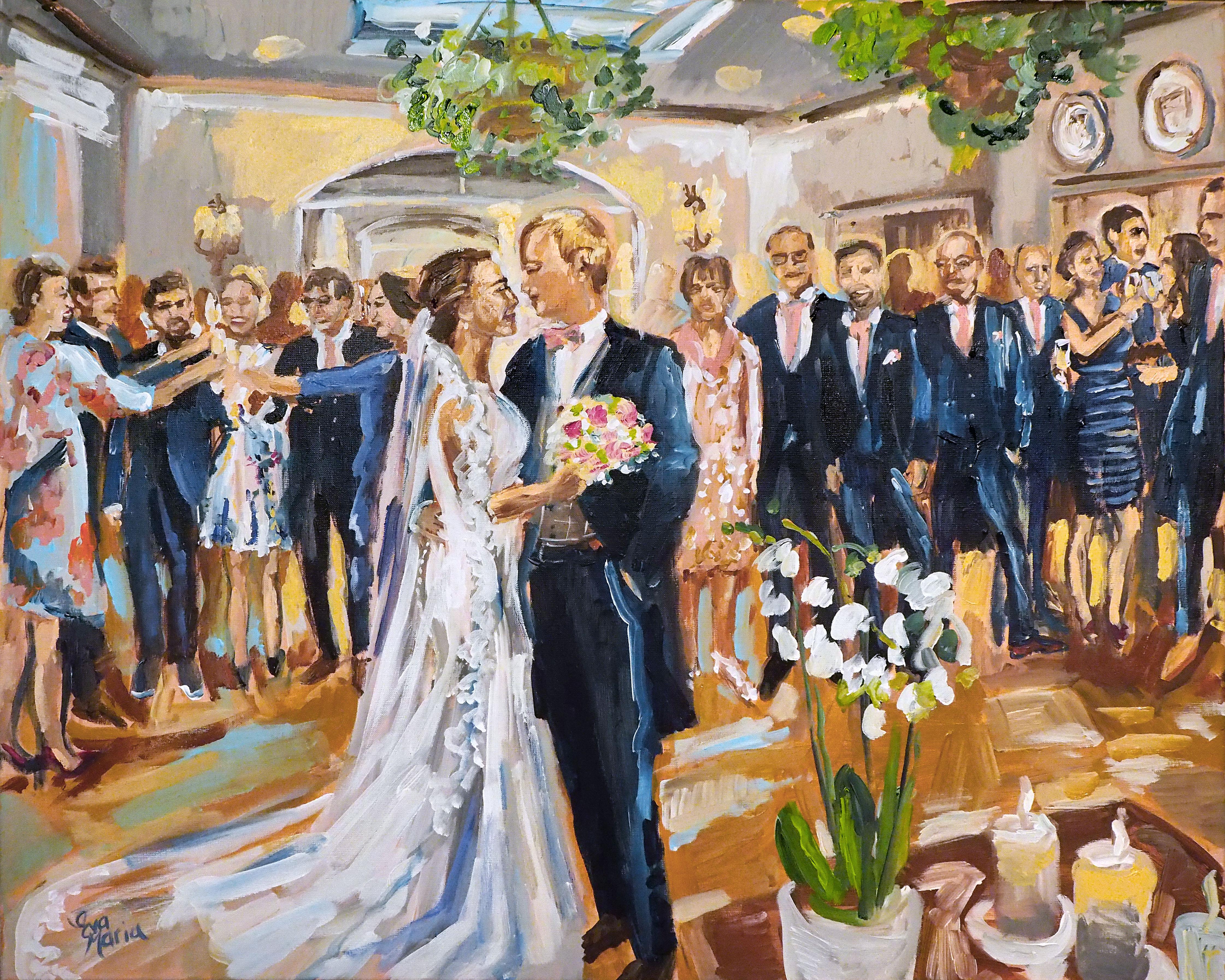 Live Paint Eva Maria kunst kado huwelijksborrel Kortrijk, België
