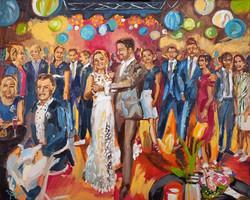 Live Paint Eva Maria schilderij huwelijksfeest Vessem