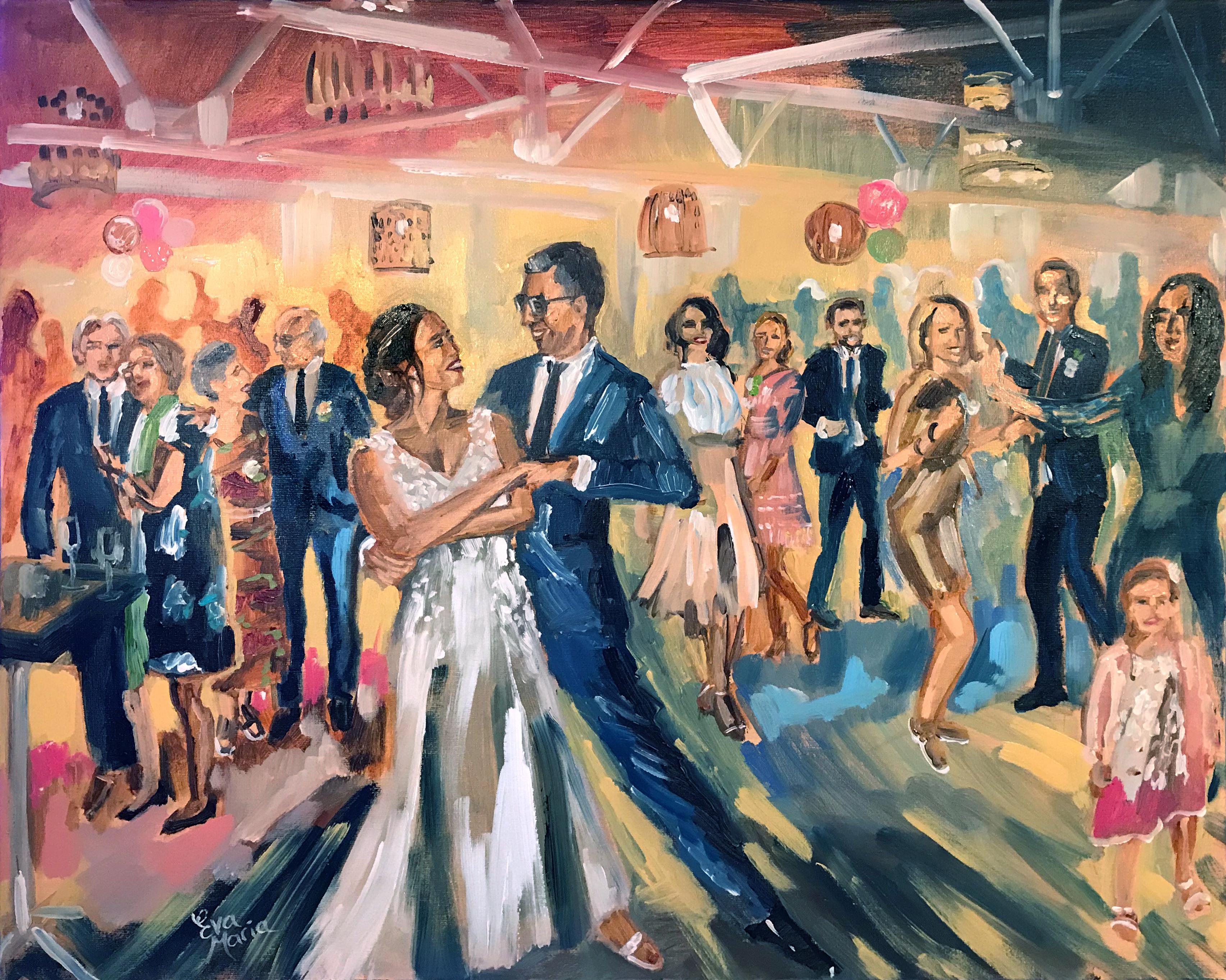 Live Paint Eva Maria kunstwerk huwelijksfeest Castricum aan Zee