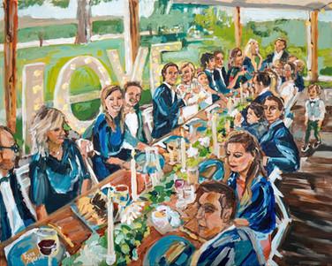 Schilderij diner bruiloft