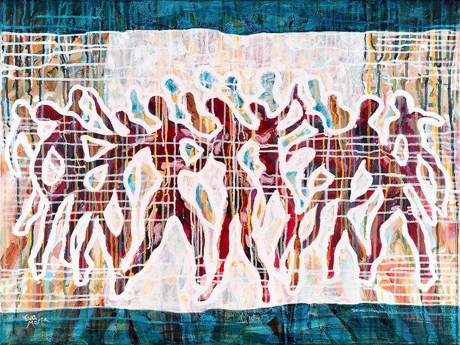 Schilderij met dansers Captured joy Kuns