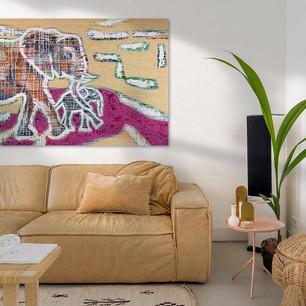 Olifant schilderij in woonkamer