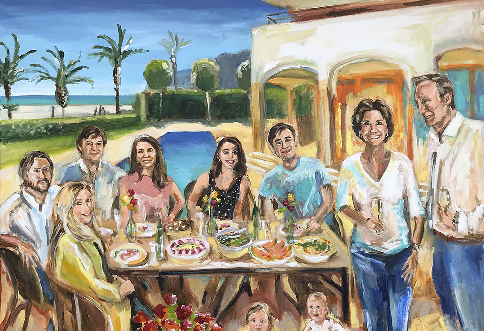 Schilderij-familie-diner-vakantiehuis-ui