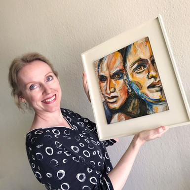 Eva van den Hamsvoort and Let's stay together, unique painting SOLD Eva van den Hamsvoort