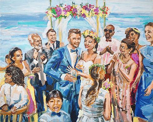 Schilderij van bruiloft Live Paint
