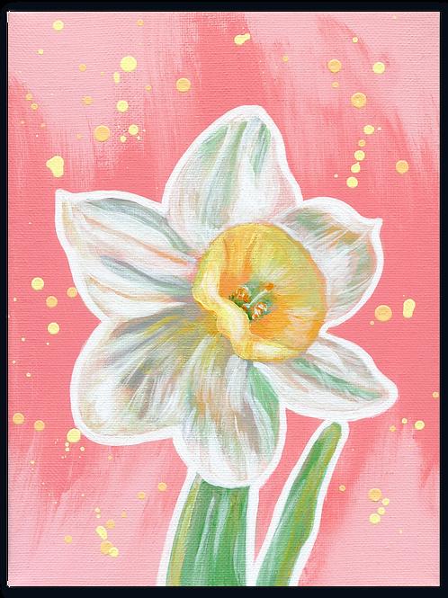 Schilderij Narcis   ArtaFlora   PRETTY PASTEL collectie