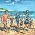 Schilderij 80x120 familie aan het strand
