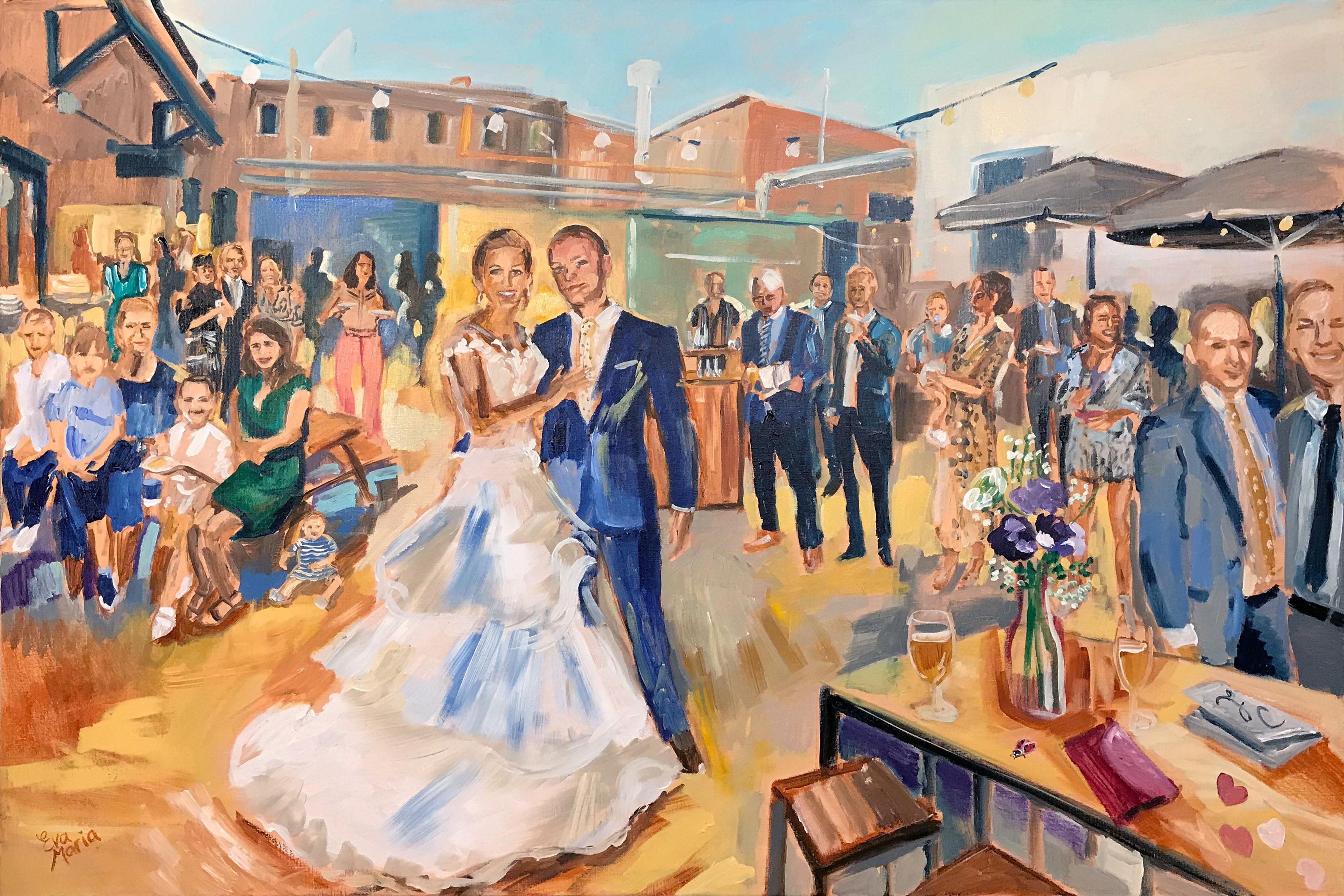Live Paint Eva Maria kunst bruiloft Eindhoven