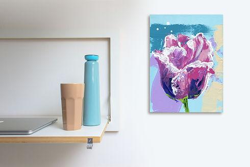 Schilderij van een tulp Tulipa Parrot